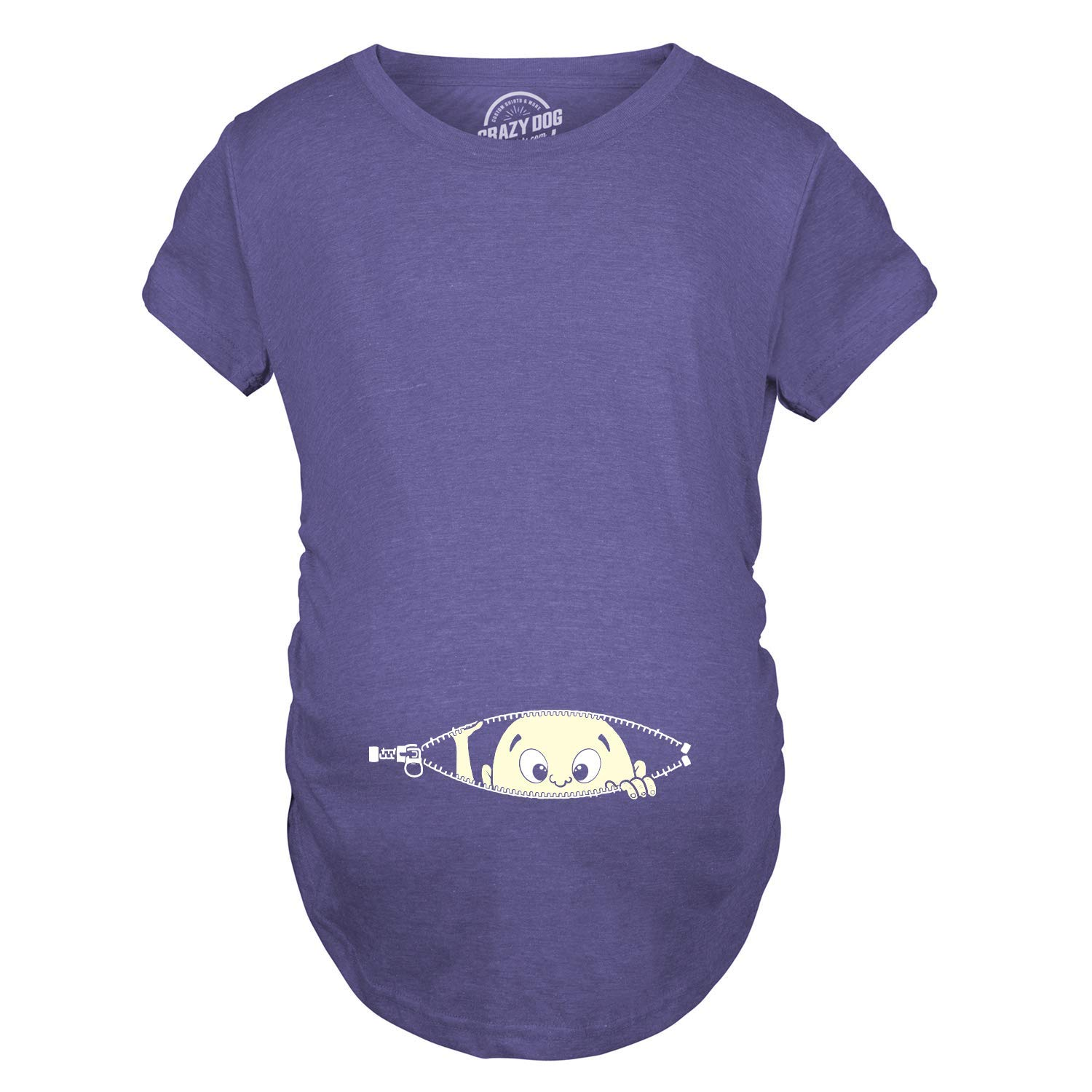 b3f41226821 Maternity Baby Peeking T Shirt Funny Pregnancy Tee for Expecting Mothers  (Heather Purple) -S  Amazon.co.uk  Clothing