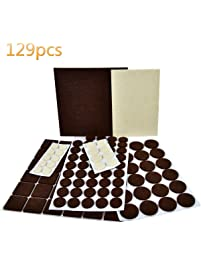 Boffong Felt Furniture Pads, 129PCS Hardwood Floor Protectors Two Color Under  Furniture Pads