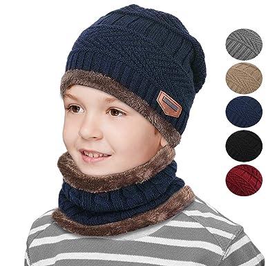 Hiver doublure polaire chaud tricoté chapeau cercle écharpe Set Slouchy  chaud sports de plein air chapeau e86e1c992a8