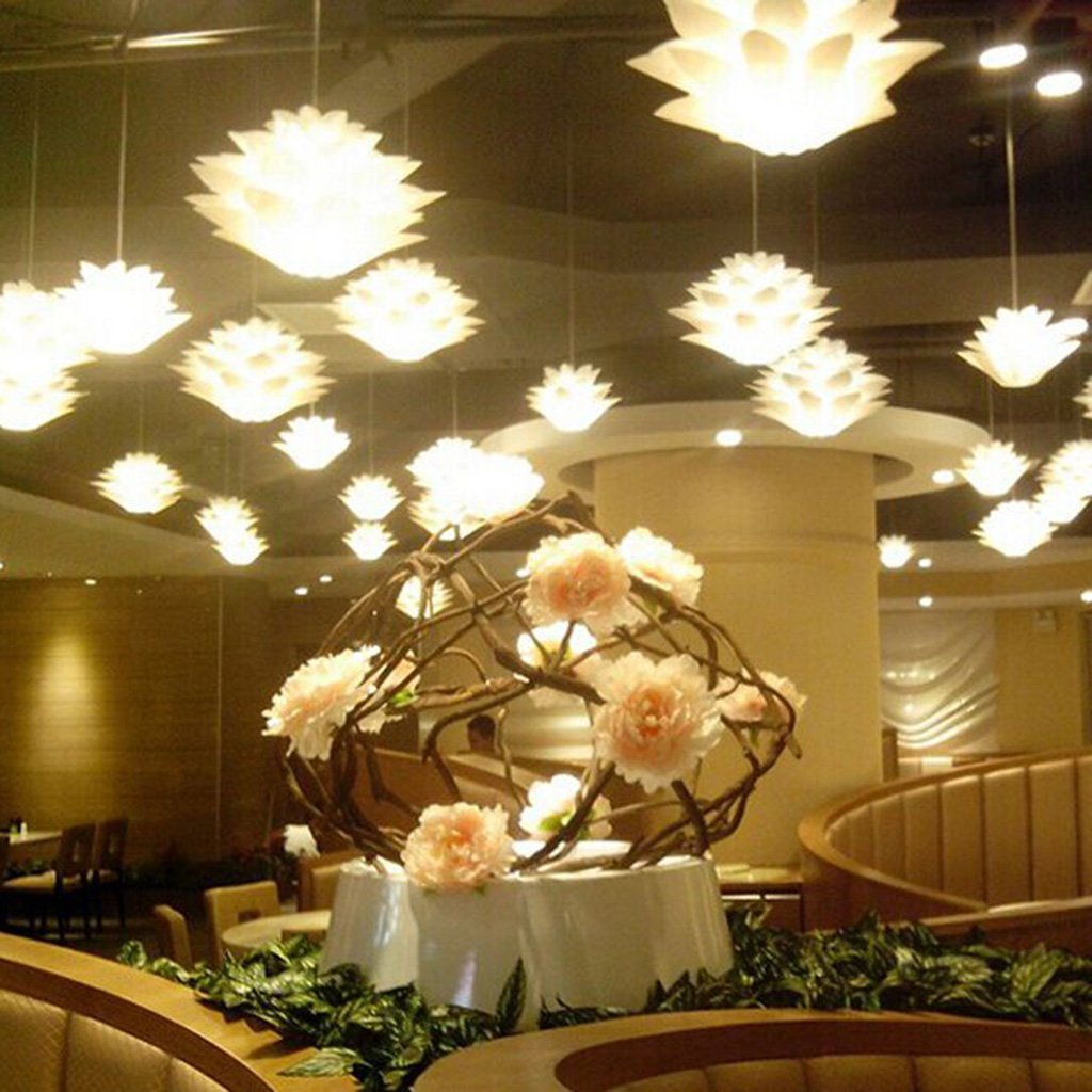 Zulux ceiling pendant diy iq jigsaw puzzle lotus flower lamp shade zulux ceiling pendant diy iq jigsaw puzzle lotus flower lamp shade kit living room dining room decor lightingdiameter 21 inches white amazon aloadofball Image collections