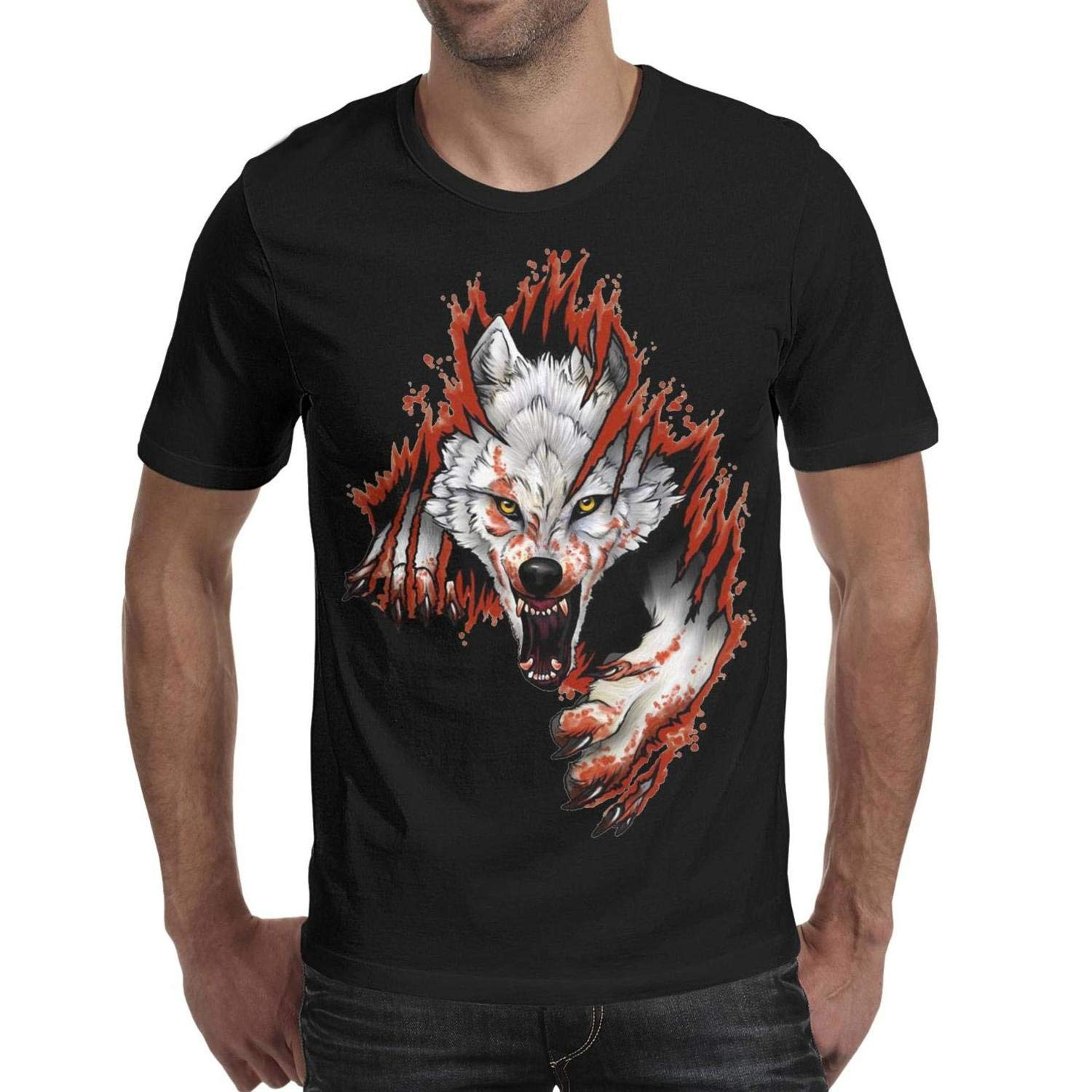 Angry Wolf Tear Blood Funny T Shirt