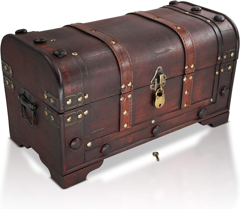 Brynnberg Caja de Madera 40x20x22cm - Cofre del Tesoro Pirata de Estilo Vintage - Hecha a Mano - Diseño Retro - joyero - con candado