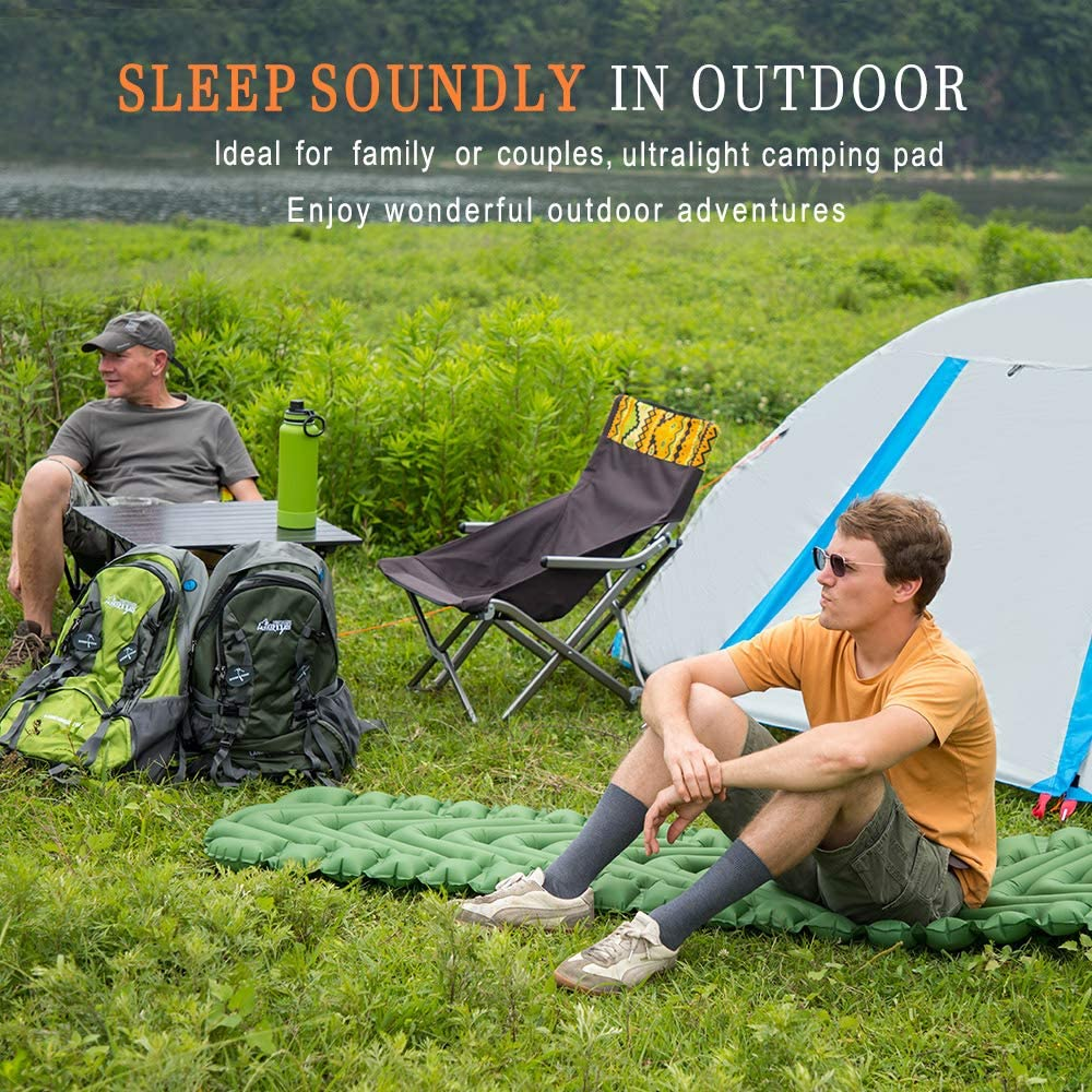 Camp Sleep Pad Lightweight Inflatable Camping Mat for Backpacking Wolf Walker Camping Sleeping Pad Hiking V-Type Air Cells Mattress Army Green /… Compact