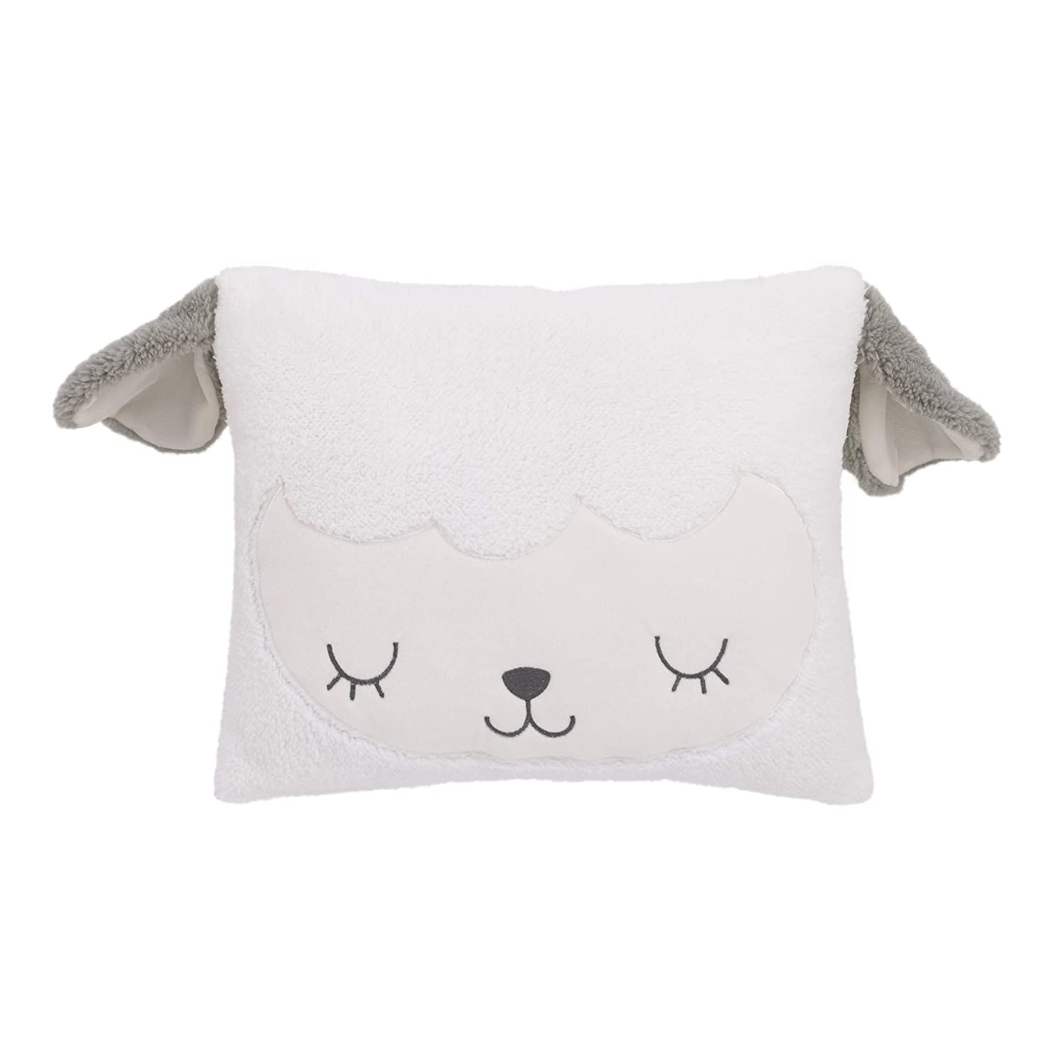 Little Love by NoJo White and Grey Soft Sherpa Lamb Shaped Decorative Pillow with 3D Ears