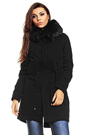Damen Parka Jacke große Fellkapuze innen Kunst Fell gefüttert schwarz L   Amazon.de  Bekleidung 8f3927e264