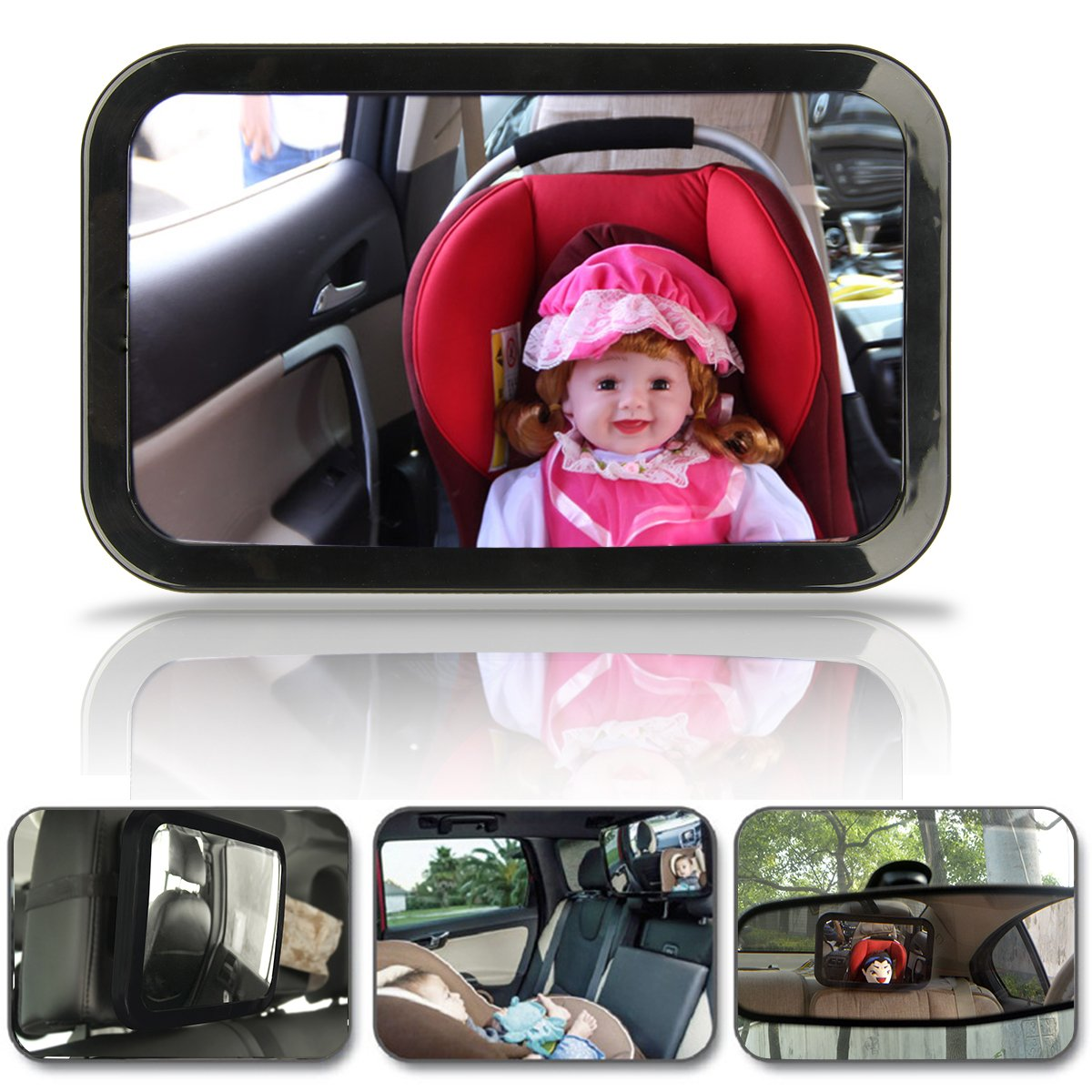 Back Seat Mirror Rear View,SOONHUA Baby Car Mirror for Back Seat/Car Back Seat Child Safety Mirror/360 Adjustable Angle/Wide View/Shatterproof Glass by SOONHUA   B01HM3U2T6