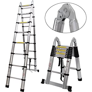 Telescopic Extension Ladder 16.4FT Portable Aluminium Telescoping Ladder with Spring Loaded Locking for Home Loft Office, EN131 Certified, 330 Lb Capacity