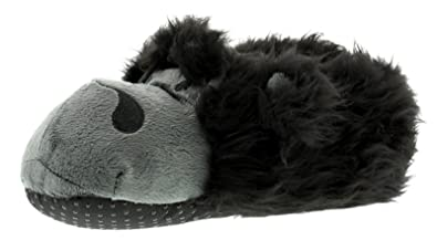 12a48d8a825 Wynsors New Older Boys Childrens Black Faux Fur Gorilla Slippers - Black -  UK Size