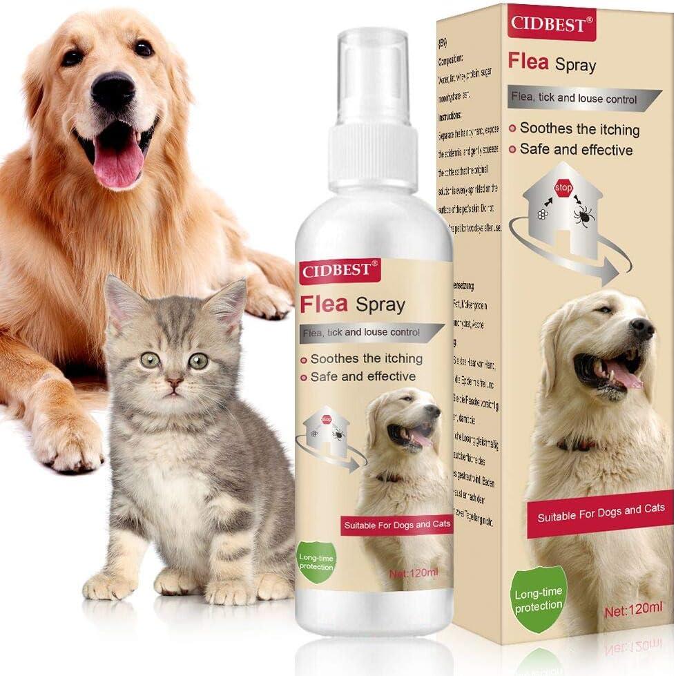 CIDBEST Flea Spray,Pulgas Spray,Anti Pulgas,Spray de protección contra pulgas,Apto para Perros y Gatos