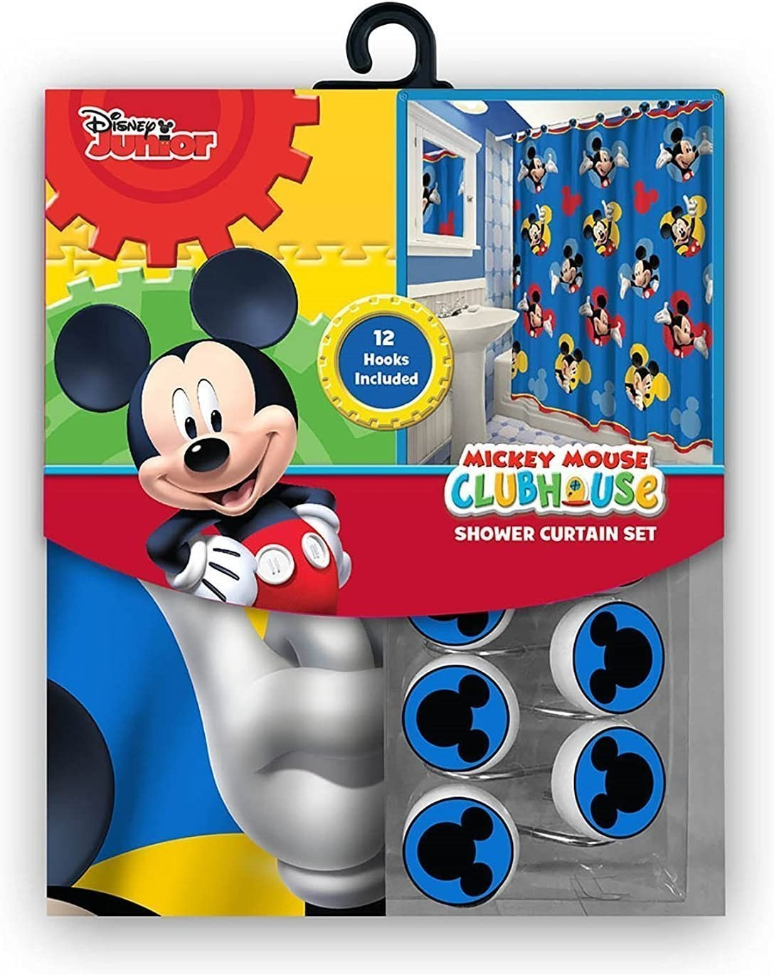Amazon Com 13pc Disney Mickey Mouse Clubhouse Shower Curtain And Hooks Set Home Kitchen