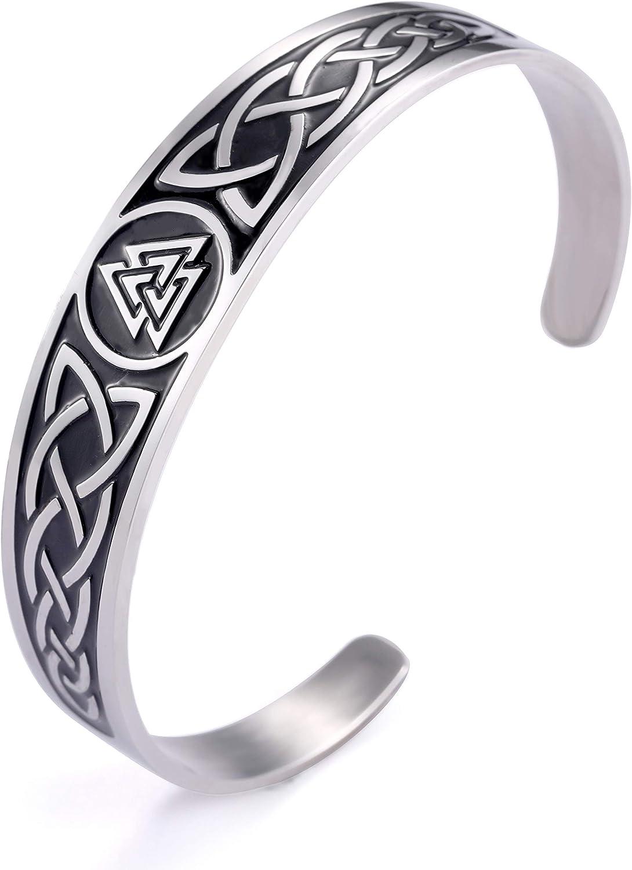 fishhook Nordic Viking Symbol Celtic Design Irish Knotwork Triskele Stainless Steel Wristband Bangle Bracelet for Women Men