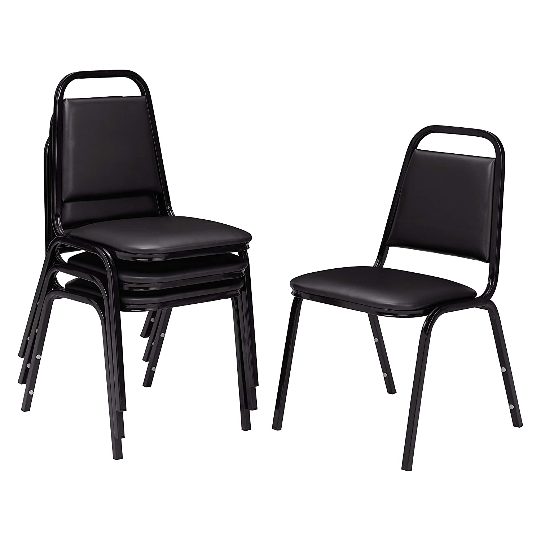 (4 Pack) NPS 9100 Series Vinyl Upholstered Stack Chair, Black Seat, Black Frame