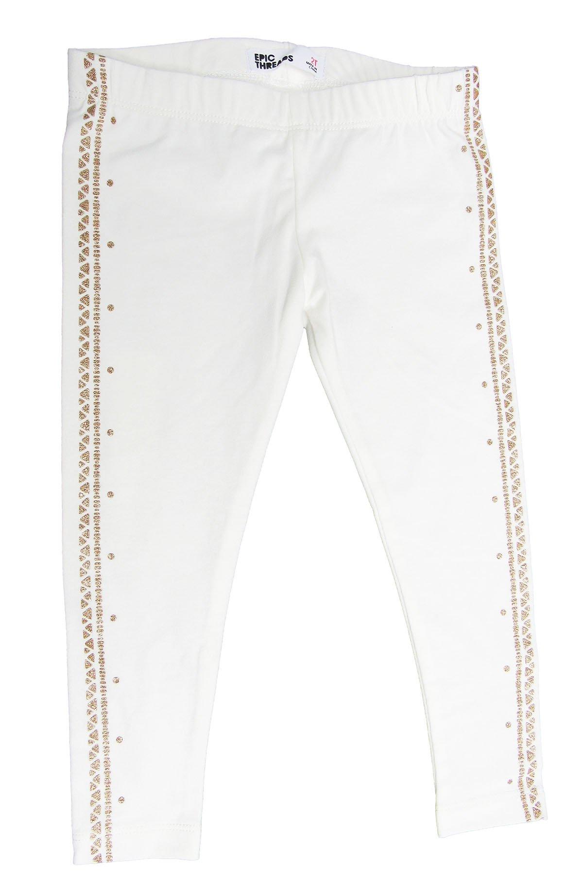 Epic Threads Little Girls' Glitter Tuxedo-Stripe Leggings Holiday Ivory 3T/3