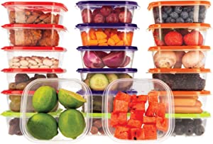 Food Storage Containers with Lids Airtight Oursson, BPA Free, Lunchbox – Reusable and Practical – Transparent Snack Containers with Colored Lids (20 x 14 oz, Multicolor)