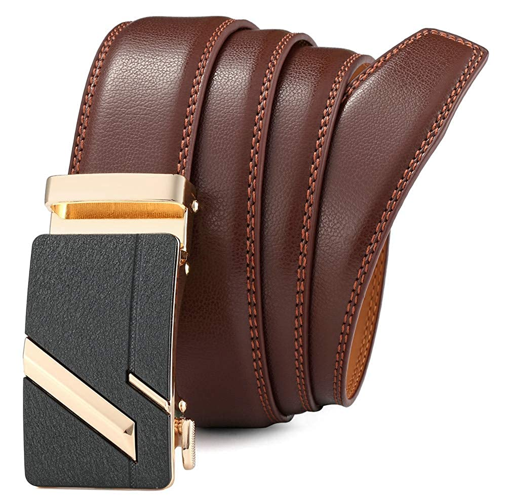 Mens Leather Belt with Automatic Buckle 35mm wide Ratchet Dress Belt -Trim to Fit