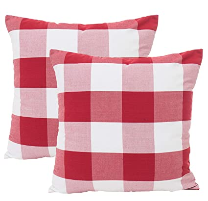 "18"" Plaid Decorative Vintage Linen Pillow Case Sofa Waist Throw Cushion Cover"