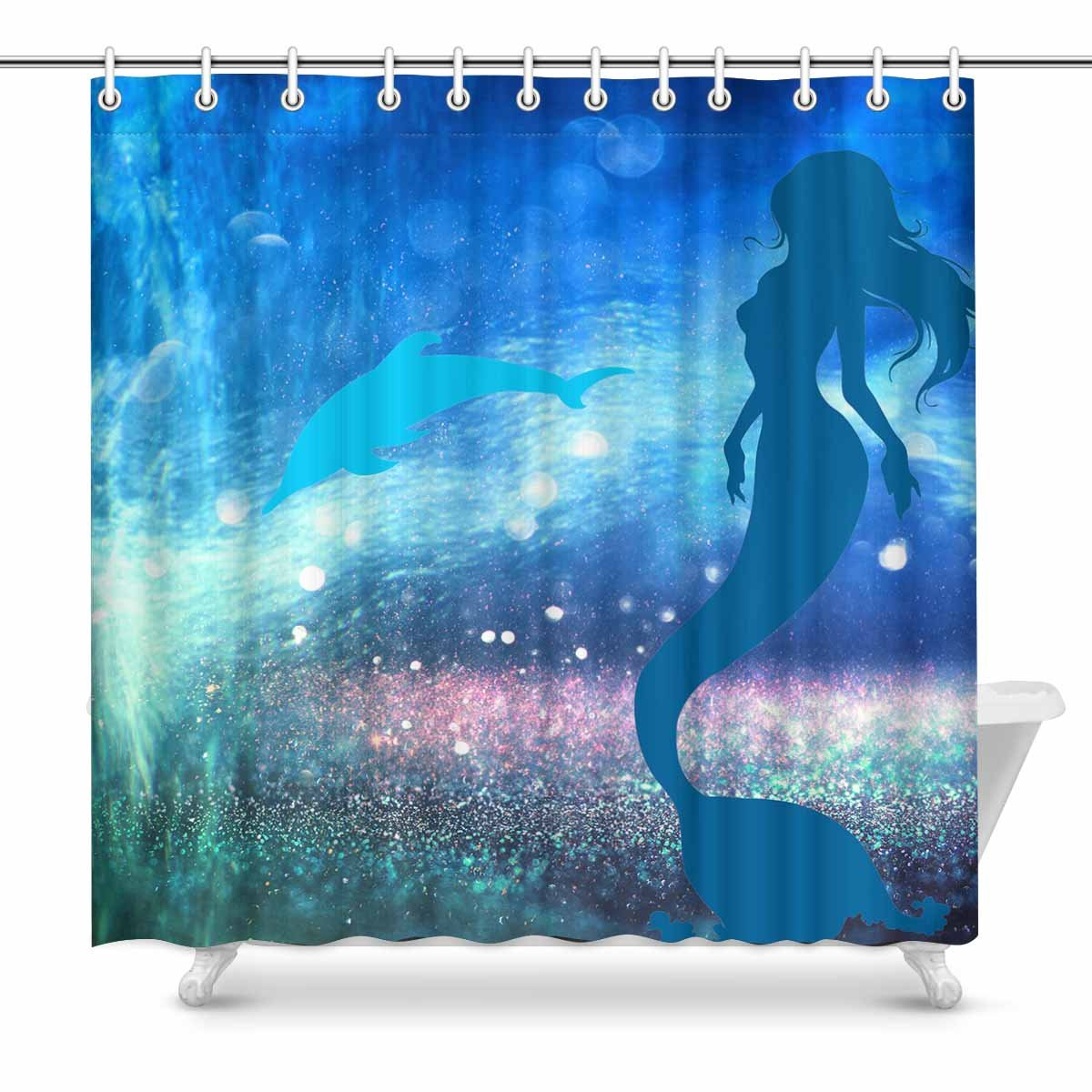InterestPrint Fantasy Mermaid Dolphin Shower Curtain Home Decor Collection Bath Waterproof Fabric Bathroom With Hooks