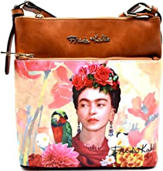 Authentic Frida Kahlo, Parrot in Flowers Cross Body Messenger- Brown
