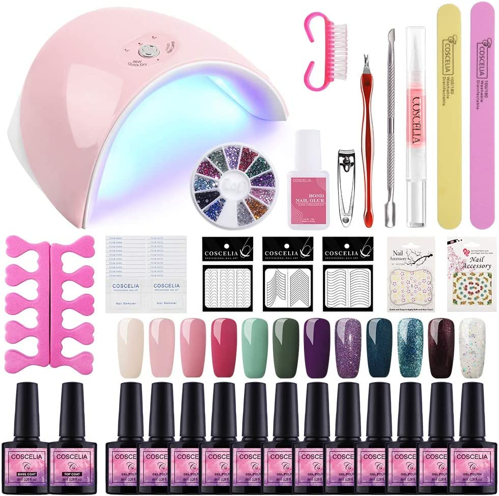Saint-Acior 12PCS Esmaltes Semipermanentes Nail Art Esmaltes en Gel Pintauñas 8ml Lámpara Uñas 36W UV/LED Secador de Uñas Top Coat Base Coat Kit para Manicura