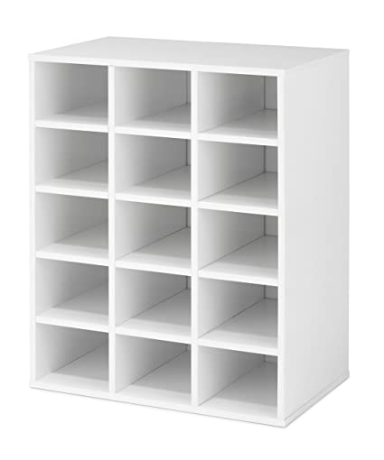 Superbe Whitmor Stackable 15 Cubby Storage Organizer, White