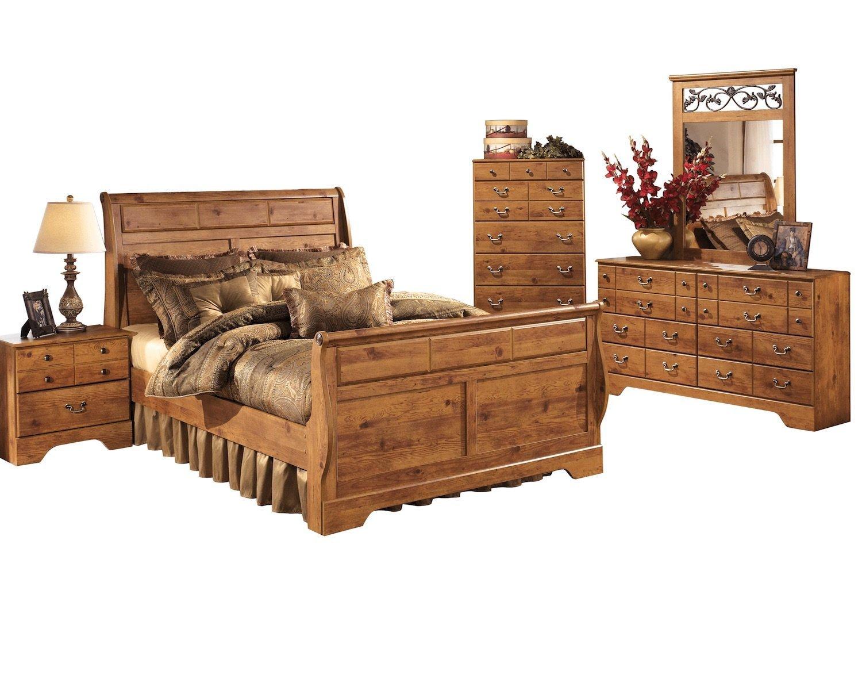 Amazon.com: Ashley Bittersweet 5 PC E King Sleigh Bedroom Set With ...