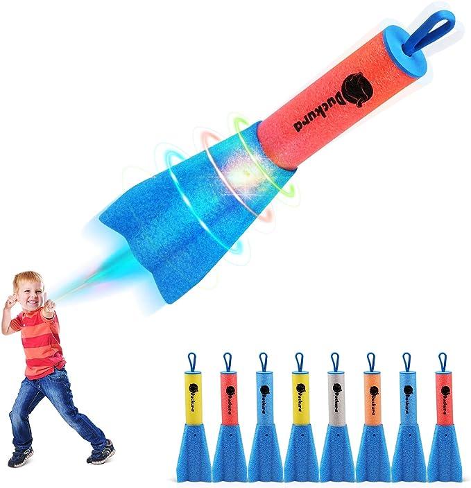 6 Pack LED Foam Rockets Finger Slingshot Launcher Easter Gifts for Boys Girls 3+ Flying Light Up to 100 Feet Outdoor Toys for Party Favor Camping Activities D-FantiX Finger Rocket Toys for Kids