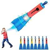 Duckura Slingshot Finger Rockets, 8 Pack LED Foam Rocket Launchers, Soars Up to 100 Feet, Outdoor Camping Game Activities, Su