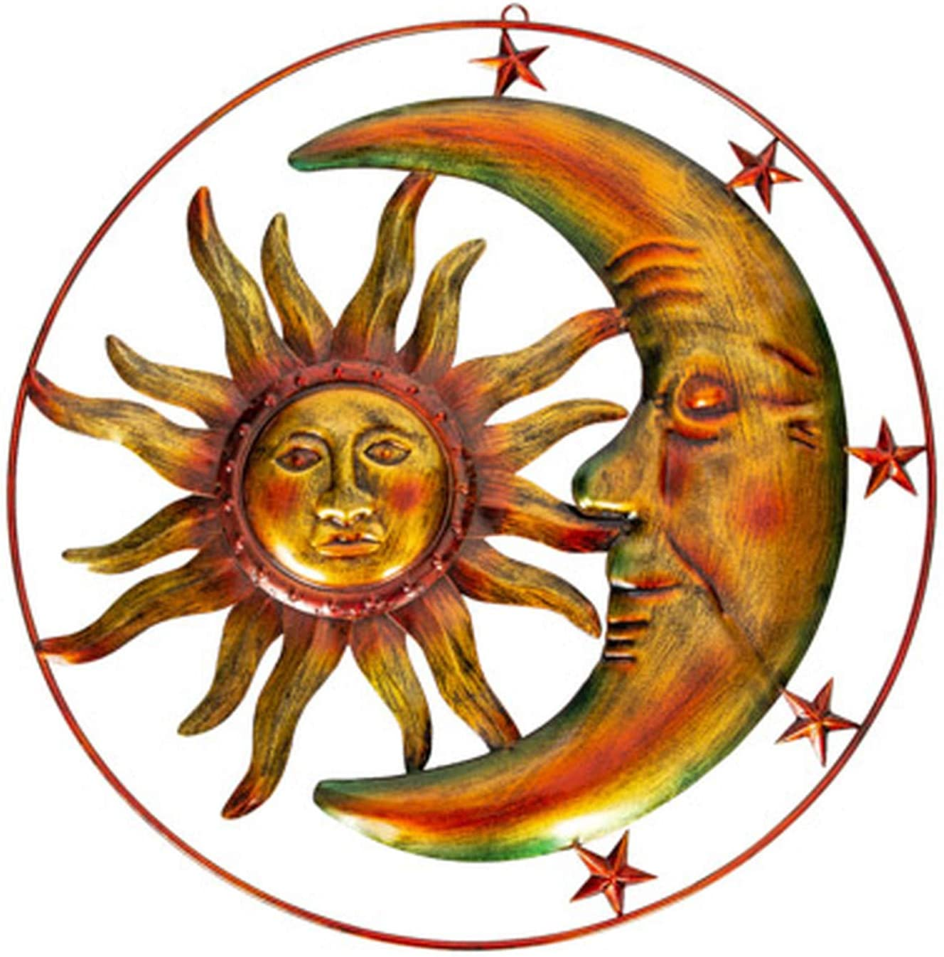 Celestial Sun Moon and Stars Indoor Outdoor 19 inch Wall Hanging Art Decor