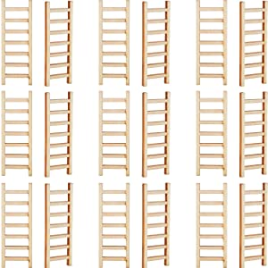 Skylety 20 Pieces Mini Wooden Step Ladder Fairy Furniture Ladder Garden Ornament Ladder DIY Craft Fairy Garden Accessory for Dollhouse DIY Landscape Decor