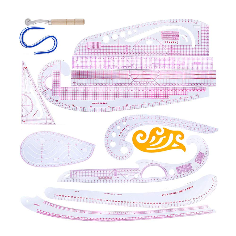 13Pcs DIY Styling Ruler Sets Plastic Metric Ruler Set Sleeve Arm French Curve Rulers Measure Plastic Cutting Ruler Sew Drawing Template Fashion Design Craft Sewing Tools for Dressmaking Tailoring