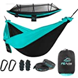 FE Active Outdoor Camping Hammock - 2 Person or 1 Person Hammock with Mosquito Net Portable Hammocks for Trees. Hammock Swing for Travel, Patio Furniture, Survival Gear | Designed in California, USA