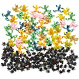 MICHLEY 50pcs Plastic Frogs + 144pcs Flies for Party Favorite Toys