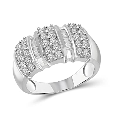 Delicious Sterling Silver 2 Mm Diamond Ring Msrp $415 Jewelry & Watches Fine Rings