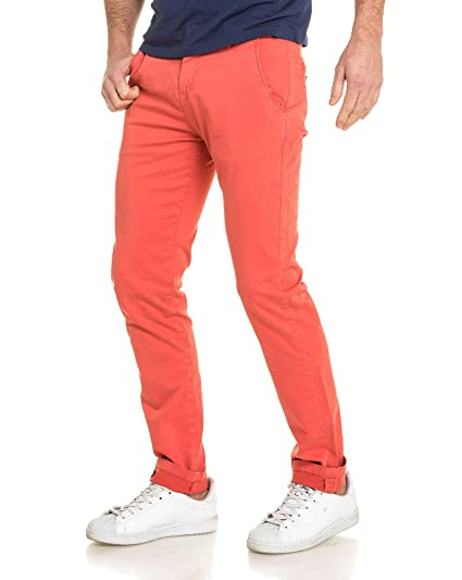Deeluxe 74 - Pantalon Homme Chino Rouge Tomato - Couleur  Rouge - Taille  FR a21fbd45703