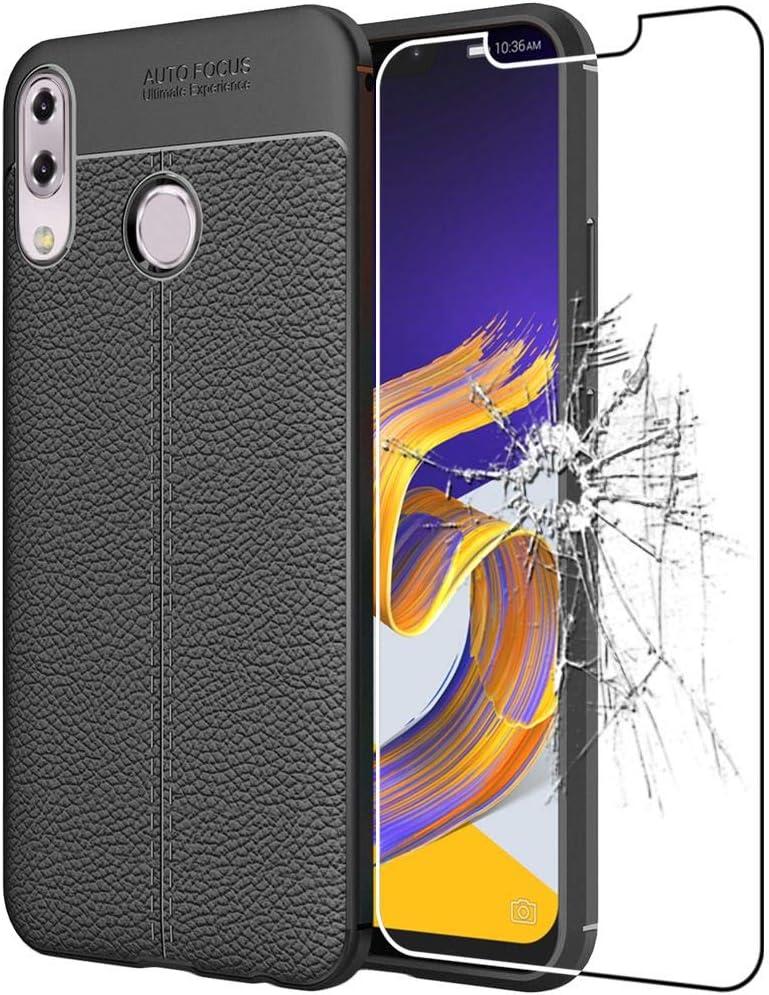 ebestStar - Funda Compatible con ASUS Zenfone 5 ZE620KL, 5Z ZS620KL Carcasa Silicona Gel, Protección Diseño Cuero Ultra Slim Case, Negro + Cristal Templado [Aparato: 153 x 75.7 x 7.9mm 6.2]: Amazon.es: Electrónica