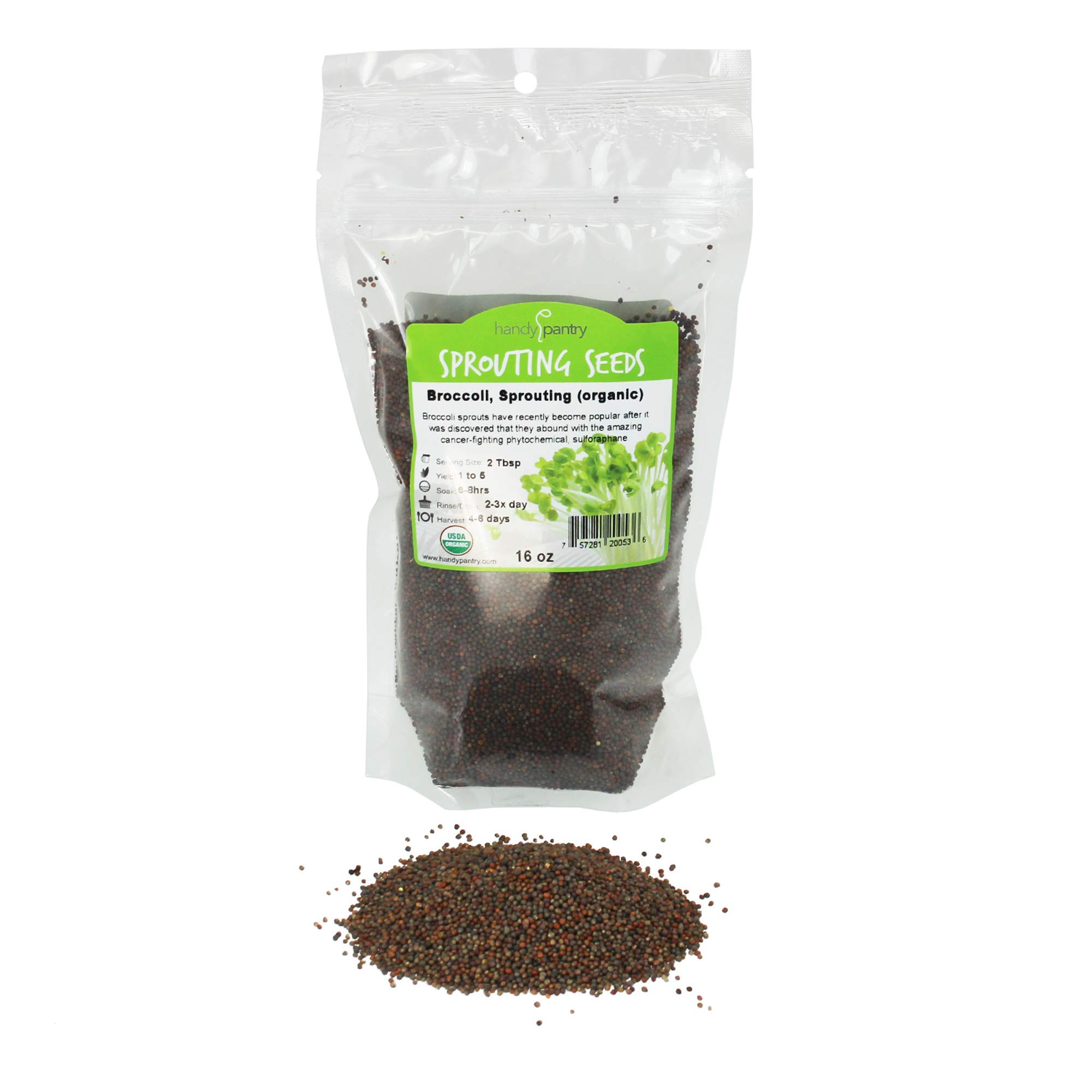 Organic Broccoli Sprouting Seeds By Handy Pantry | 1 Pound Resealable Bag| | Non-GMO Broccoli Sprouts Seeds, Contain Sulforaphane by Handy Pantry