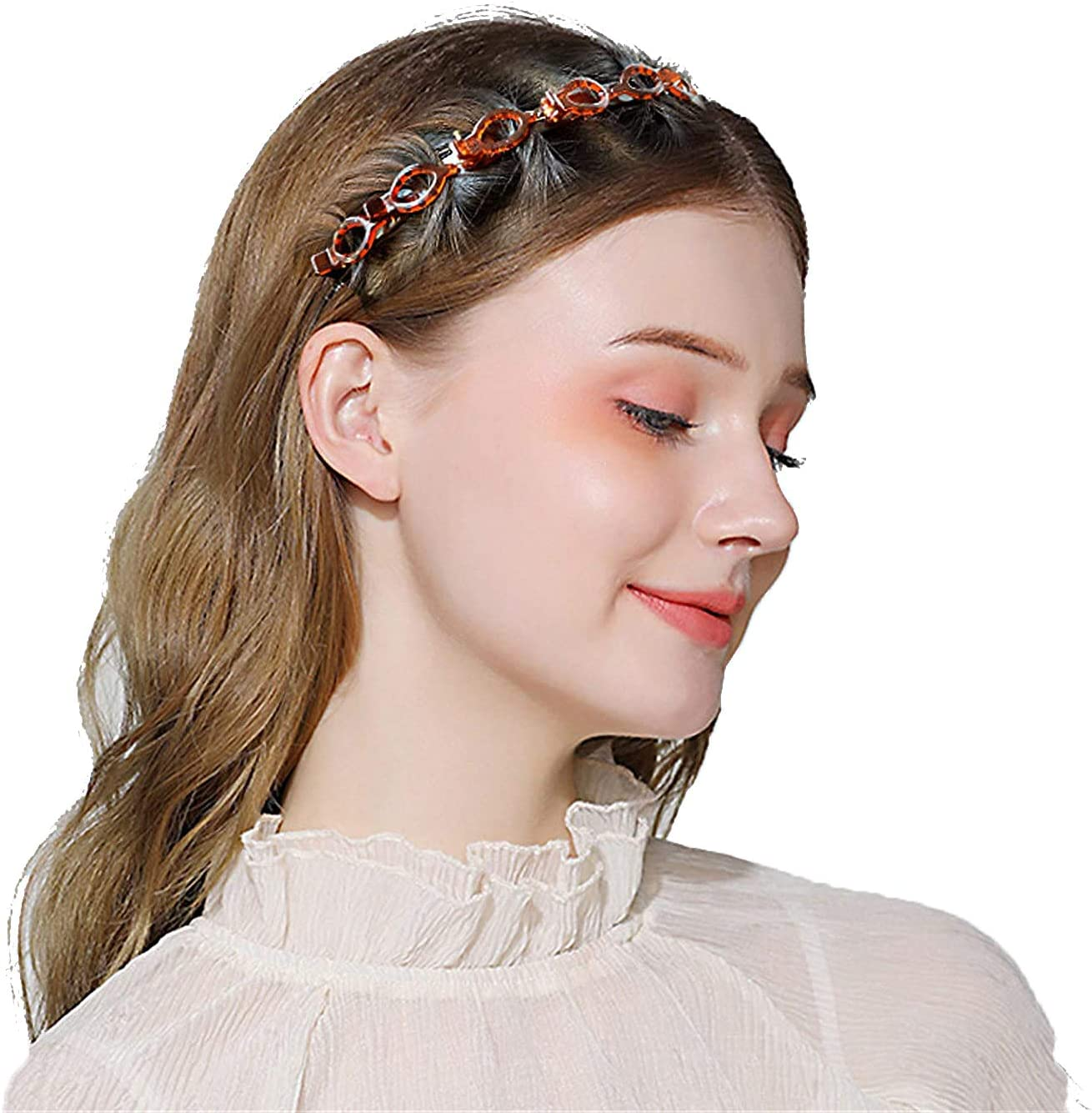 2pcs Hairpin Headbands Twist and Clip Headband//Korean Braided Headband//Hairpin Hair Band//DIY Hairband Non-slip//Double Layer Twist Plait Headband for Women Girls Double Bangs Hairstyle Hairpin
