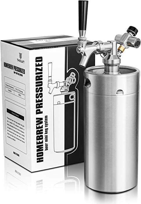 TMCRAFT 128oz Mini Keg Growler, Pressurized Stainless Steel Home Keg Kit System with Updated Co2 Regulator Keeps Fresh and Carbonation for Homebrew, Craft and Draft Beer