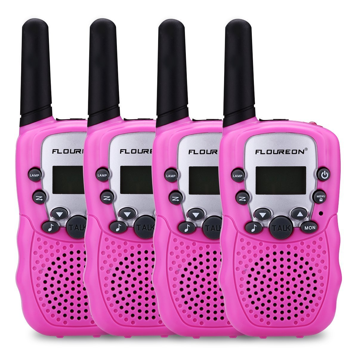 FLOUREON Kids Toy Walkie Talkies Two Way Radios Walky Talky 22 Channel Long Range UHF Handheld Outdoor Kids Toy Cellphone for Children Day/Birthday/Christmas Gift (Pink x 4)