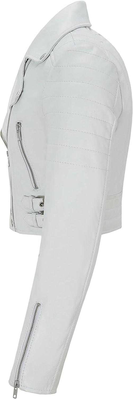 5625 Ladies Short Body Jacket Biker White Slim Fit Moto Style 100/% Real Napa