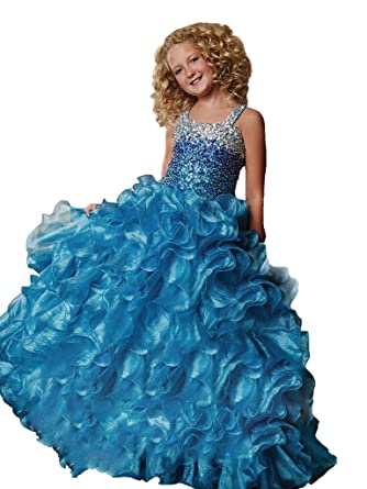 WZY Little Girls Beading Party Ball Gowns Girls Pageant Dresses 2 US Blue 4d642dc67ae0