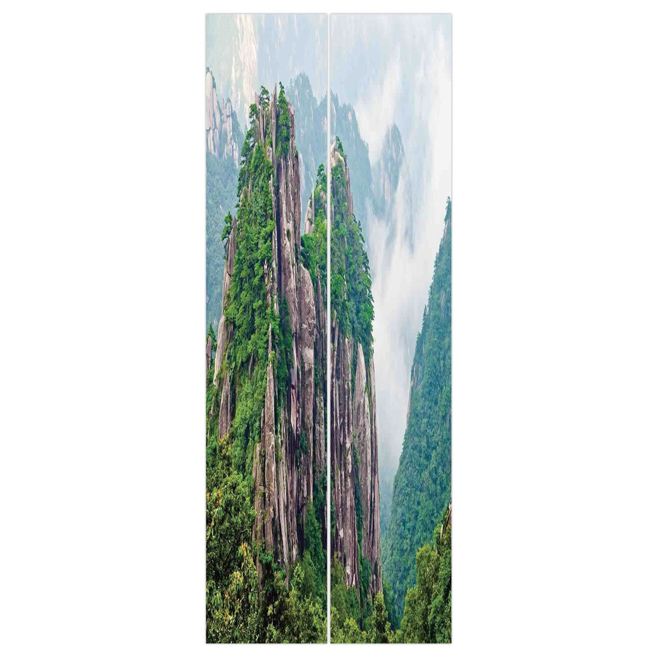 3d Door Wall Mural Wallpaper Stickers [ Apartment Decor,Sacred Majestic Slim Mountains Rocks in Clouds South Asian Chinese Nature Photo,Green Brown White ] Mural Door Wall Stickers Wallpaper Mural DIY