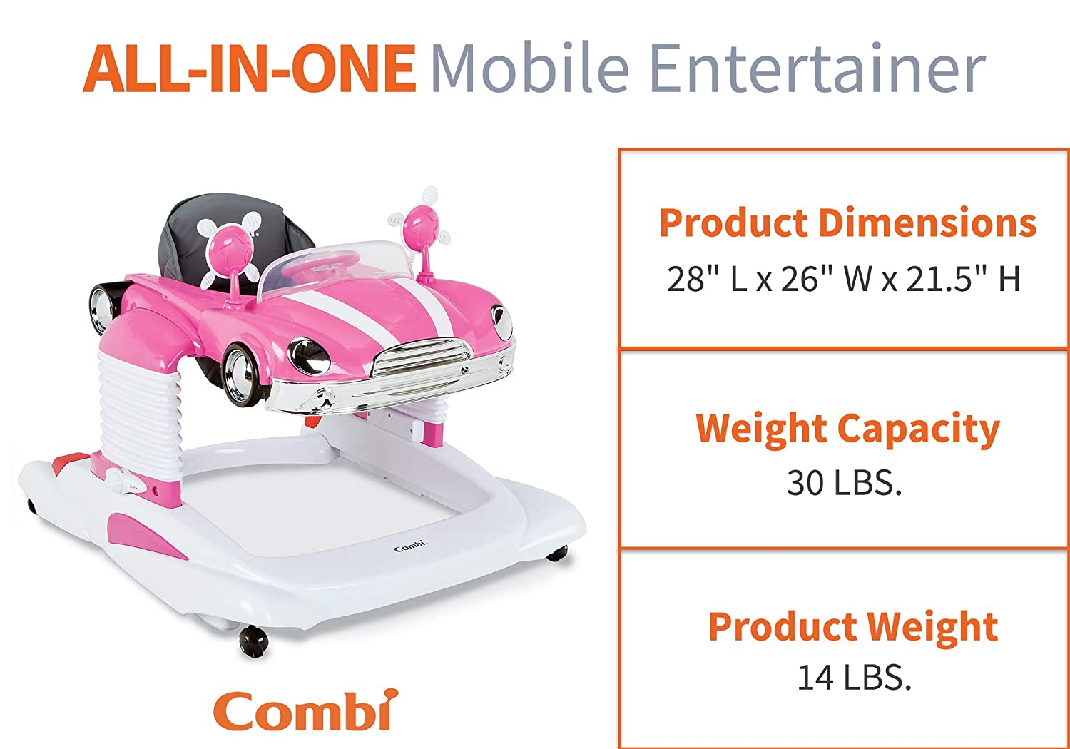Mirrors for Development Stages| Anti-Skid Safety Feature Lights Combi Baby Walker and Interactive Mobile Activity Center with Quick Release Snack Tray Features Sounds Flower Power
