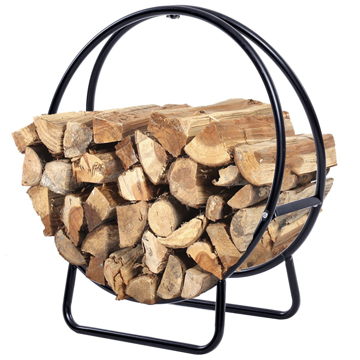 Edxtech 2 Feet Tubular Steel Log Hoop Firewood Storage Rack Holder Round Display