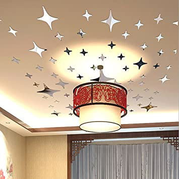 Mirror Wall Decor, Home Inspira Silver Stars Mirror Wall Decals Removable  DIY 3D Mirrors Wall