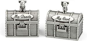 Mogoko Baby Tooth Treasure Chest Box, Silver Tooth Holder and Curl Organizer Set, Cute Teeth Fairy Keepsake Box for Child Kids