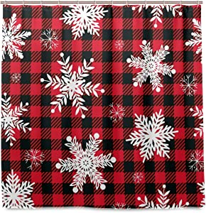 Yulife Winter Snowflakes Buffalo Plaid Shower Curtain 72X72 inch Christmas Xmas Winter Snow Bathroom Bath Curtain Waterproof Fabric Shower Drapes Curtain Set with 12 Hooks New Year Christmas Decor