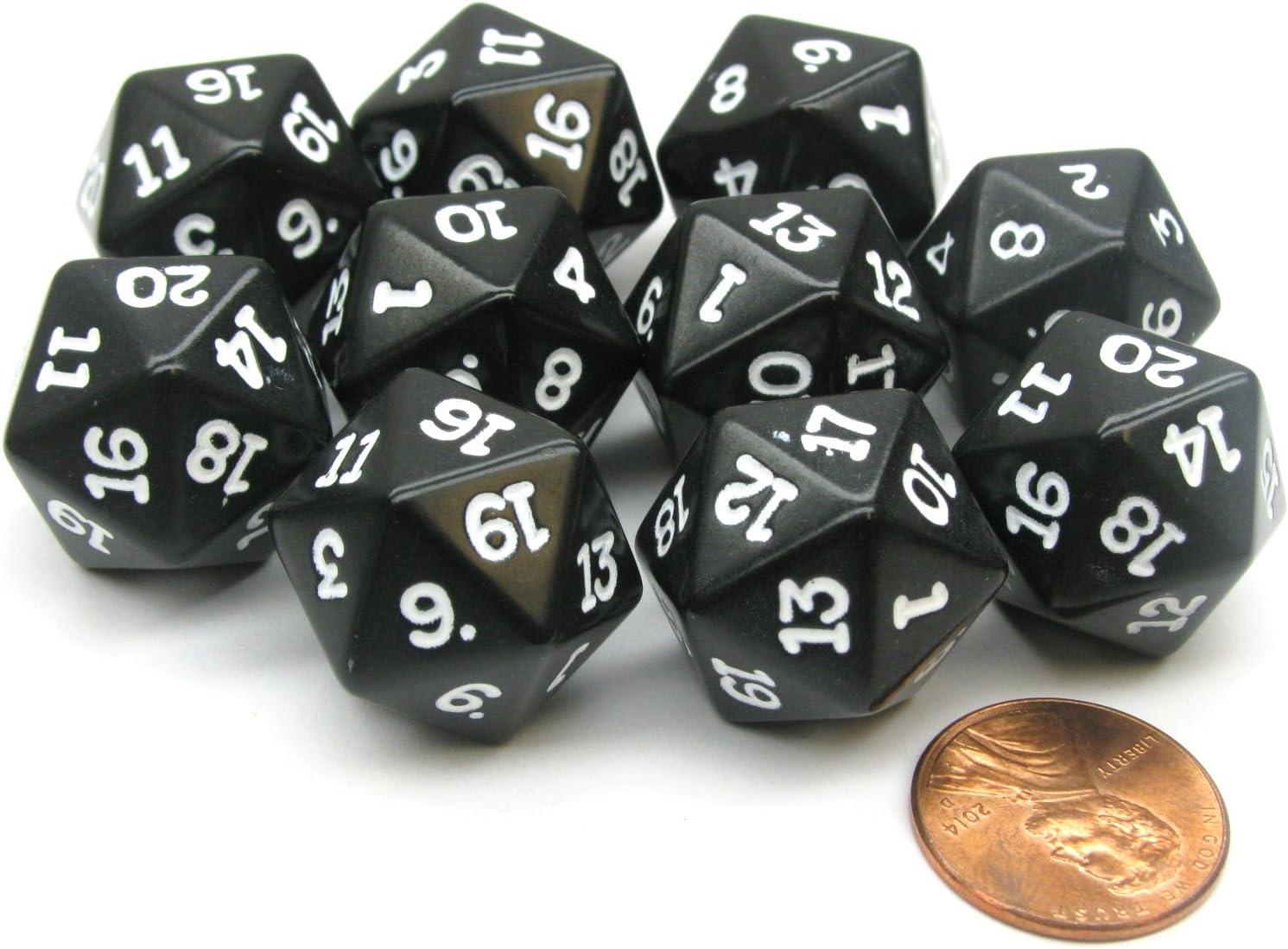 Koplow Games 55mm Jumbo D20 Opaque Black with White Numbers 14796