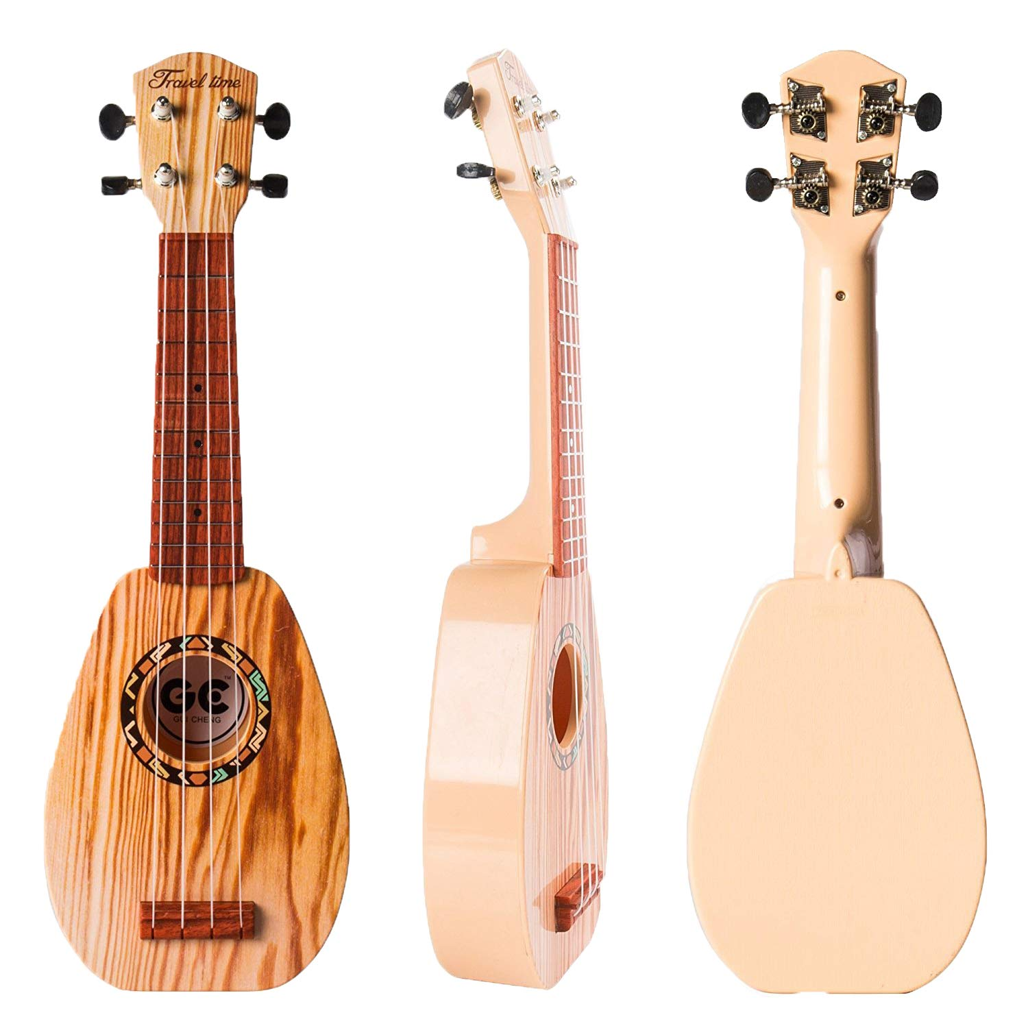 YOLOPLUS+ 17 Inch Kids Ukulele Guitar Toy 4 Strings Mini Children Musical Instruments Educational Learning Toy for Toddler Beginner Keep Tone Anti-Impact Can Play With Picks and Strap (17 Inch-1) by YOLOPLUS+