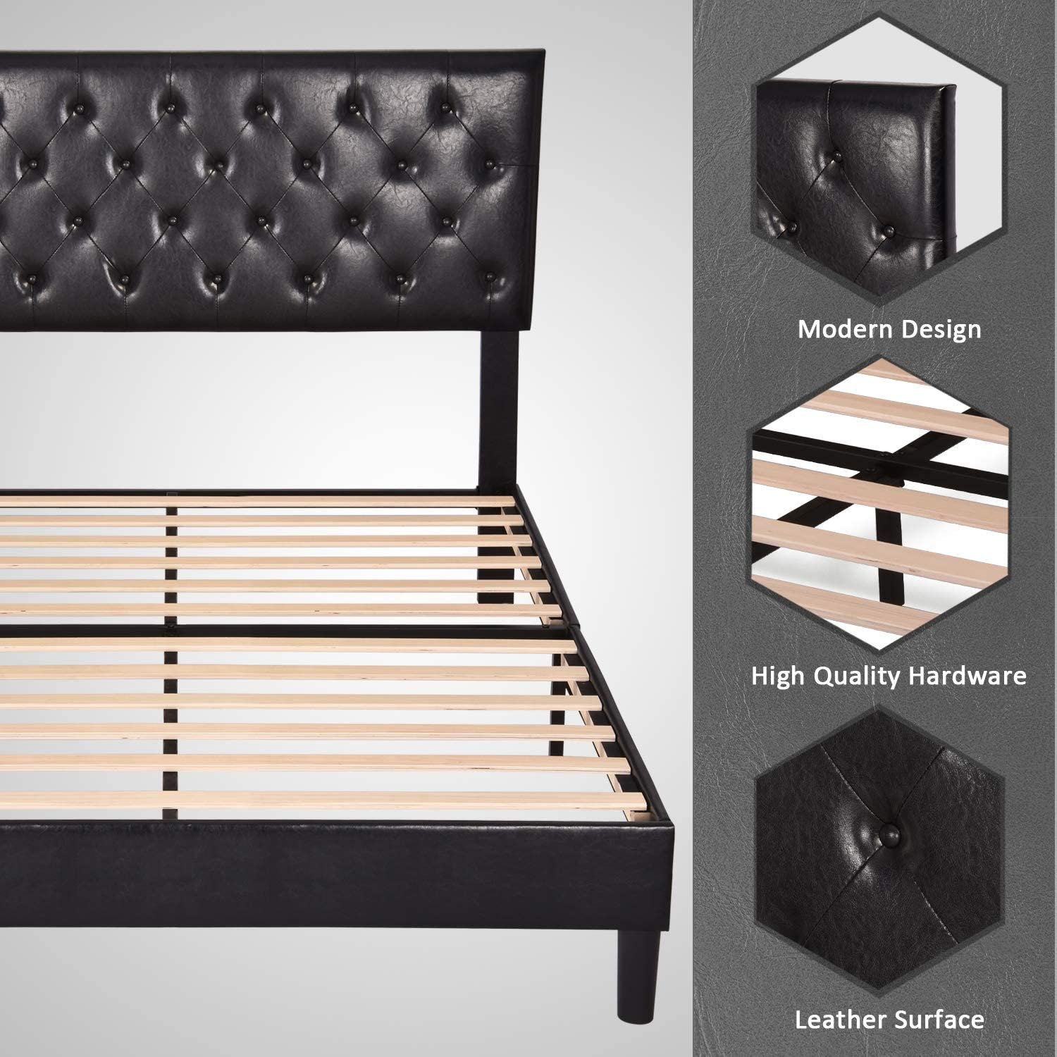 Allewie Full Size Bed Frame Platform Bed with Faux Leather Upholstered Diamond Stitched Button Tufted Headboard and Wood slats//Mattress Foundation//No Box Spring Needed//Easy Assembly//Black